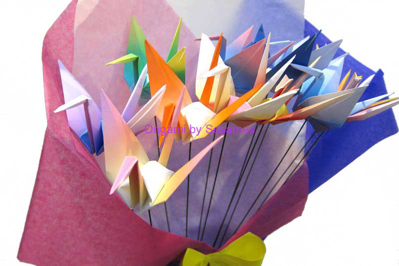 One Dozen Multi Coloured Origami Crane Fan Bouquet