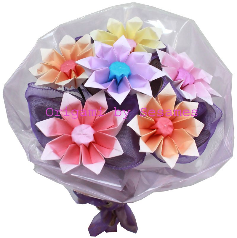 Sesames london origami florist paper origami flowers one dozen multi coloured 3d heart fan bouquet standard tissue paper wrapping 48 mightylinksfo Gallery
